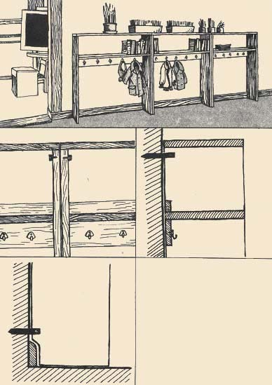 Detailed drawings show connection of parts of a rack with a wall probes. It is necessary to pay attention that probes are established in those places where they are badly visible, or where disappear the things standing in a rack.