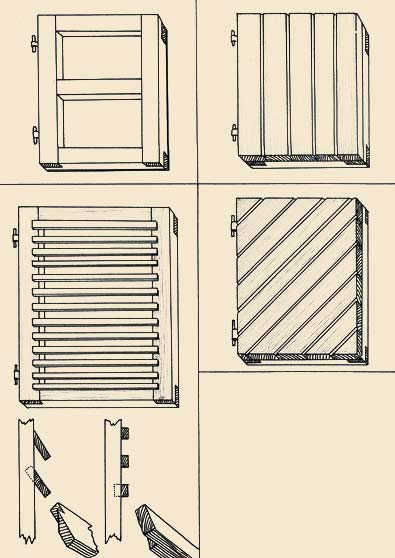 the shutters Presented here differ special durability, thanks to the basic frame. However the boards laid as it is represented in the top drawing on the right, on a lobby, accordingly the back party, it is possible to connect two-three cross-section boards therefore shutters, though also more thin on a thickness, however quite suitable for use turn out.