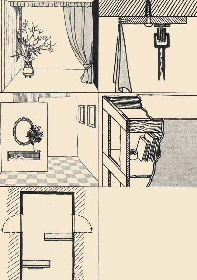 Drawings show the adaptation for curtain suspension in a cut as it is described in the first case, and a variant of a frame design of racks. On the drawing it is shown, how it is possible to equip a corridor.