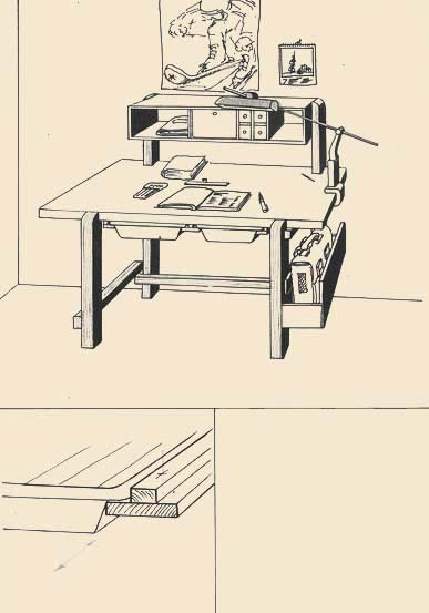 One more instructions, concerning pallets for the developer, used as the big drawers. On the nearby scheme it is shown, how they take places under a table. Wide rejki on which pallets move, stick together with narrow (sootvetsvujushchimi to a thickness of edges of pallets). This connection is screwed then from below by screws (with necessary intervals) on a table-top.