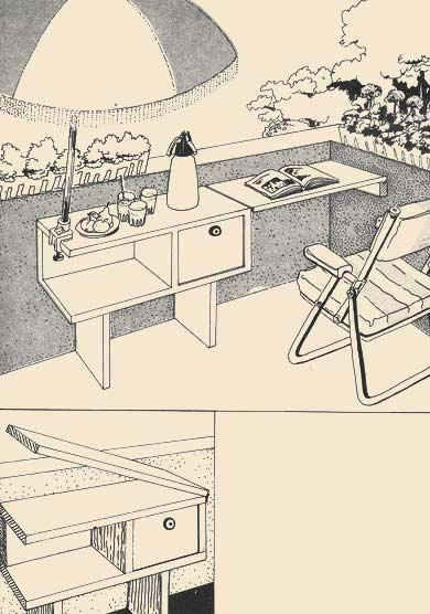the table Presented in drawing with folding dverkoj, certainly approaches and for a children's room in which two children can carry out homeworks simultaneously. Without a lateral folding plate and with legs in height approximately 20 sm can be used this design as a detail in a hall under the big mirror.